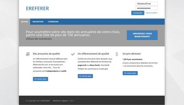 Ereferer: rédaction et soumissions aux annuaires de référencement.