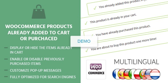 Promotion sur l'extension WordPress WooCommerce-Products-Already-Added-To-Cart-Or-Purchased